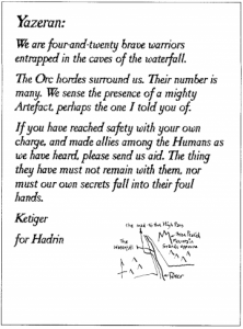 """Letter: """"We are four-and-twenty brave warriors entrapped in the caves of the waterfall..."""""""
